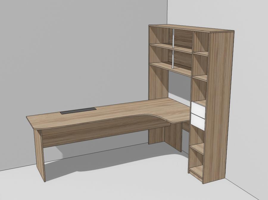 3D макет стол с пеналом